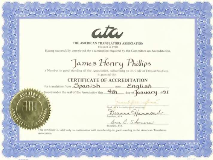 J Henry Phillips Language Credentials -- Credenciais de idiomas